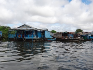 The typical dwellings of the people of the floating villages of Tonle Sap Lake