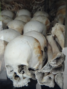 Display of skulls in the Stupa