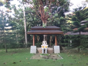The Buddha statue in one of the popular walking meditation areas