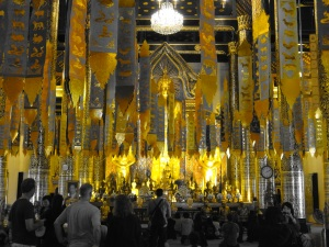 Hundreds, if not a couple of thousand, ribbons are tied from the ceiling by visitors to symbolise wishes