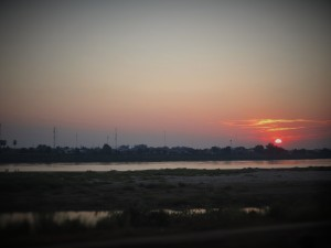 Sunset over the Mekong in Vientiane