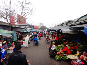 Our first Vietnamese market, 'hustle and bustle' doesn't really do it justice!