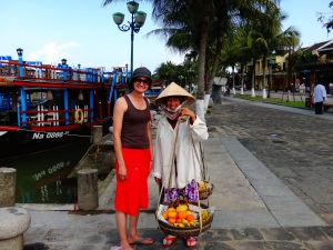 Vietnamese street vendors here love to have a photo...But then you have to buy something!!