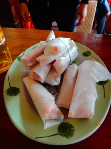 Dish 1 of the cooking class, our new found staple of spring rolls