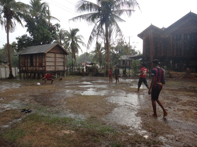 The first rain of the rainy season-a joyous football moment