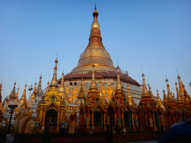 The imposing sight of the golden Shwedagon Pagoda